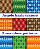 Set Argyle seamless texture vector. Set of nine basic patterns Argyle rhombuses. Multicolored rhombuses, seamless texture, vector Royalty Free Stock Photo