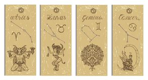 Set with Aries, Bull, Gemini and Cancer Zodiac symbols banners on texture Royalty Free Stock Photo