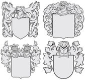 Set of aristocratic emblems No6. Vector image of four medieval coats of arms, executed in woodcut style, isolated on white background. No blends, gradients and Stock Photography