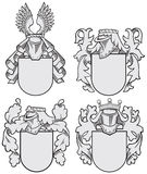 Set of aristocratic emblems No9. Vector image of four medieval coats of arms, executed in woodcut style, isolated on white background. No blends, gradients and Royalty Free Stock Photo