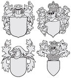 Set of aristocratic emblems No8. Vector image of four medieval coats of arms, executed in woodcut style, isolated on white background. No blends, gradients and Royalty Free Stock Photos