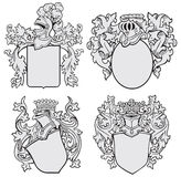 Set of aristocratic emblems No1. Vector image of four medieval coats of arms, executed in woodcut style, isolated on white background. No blends, gradients and Royalty Free Stock Photos