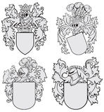 Set of aristocratic emblems No4. Vector image of four medieval coats of arms, executed in woodcut style, isolated on white background. No blends, gradients and Stock Photography