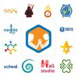 Set of arm wrestling, four  hearts, nail studio, nautilus shell, school, lis, peoples, stratis, nargile icons. Set Of 13 simple editable icons such as arm Stock Images