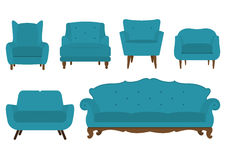 Set of armchair in flat design. Vector. Royalty Free Stock Photo