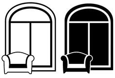 Set of armchair and window silhouette Stock Photos