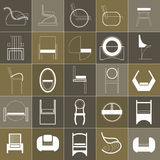A set of armchairs and chairs. A set of armchairs, chairs and stools of various shapes Royalty Free Stock Photography