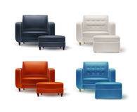 Set of armchairs with poufs. Vector set of white, orange, brown, black, blue armchairs with padded stools front view  on white background Royalty Free Stock Images