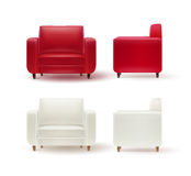 Set of armchairs. Vector set of red, white armchairs side and front view  on white background Royalty Free Stock Images