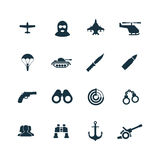 Set of army icons. On white background Royalty Free Stock Images