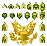 Military Army Enlisted Rank Insignia. Set of army military American enlisted ranks insignia badges icons Royalty Free Stock Photo