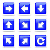 Set of arrow blue buttons. 9 directions and reload icon Stock Image