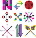 Set of arrow company logos. Set of arrow company colorful logos  on white background Stock Photos