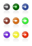 Set of arrow glass buttons Royalty Free Stock Photos