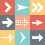 Set arrow icons, flat UI web design elements trend, vector illustration Royalty Free Stock Photos