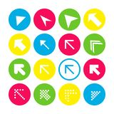 Set of 16 arrow icons with north-west direction. Arrow buttons on white background in crimson, blue, yellow and transparent vector illustration