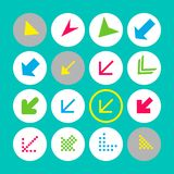Set of 16 arrow icons with south-west direction. Arrow buttons on turquoise background in white, gray and transparent circles stock illustration