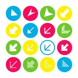 Set of 16 arrow icons with south-west direction. Arrow buttons on white background in crimson, blue, yellow and transparent vector illustration