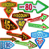 Set of arrow labels for sales with discounts Stock Photography
