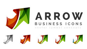 Set of arrow logo business icons. Created with overlapping colorful abstract waves and swirl shapes Stock Photos