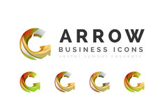 Set of arrow logo business icons Royalty Free Stock Image