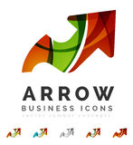 Set of arrow logo business icons. Created with overlapping colorful abstract waves and swirl shapes stock illustration