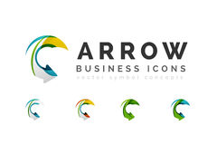 Set of arrow logo business icons. Created with overlapping colorful abstract waves and swirl shapes vector illustration