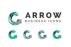 Set of arrow logo business icons. Created with overlapping colorful abstract waves and swirl shapes royalty free illustration