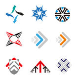 Set of 9 Arrow logo element  Royalty Free Stock Images