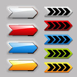 Set of arrow next buttons Stock Images