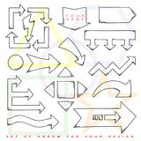 Set of Arrow pointer. Black outline sketch. Vector. Illustration vector illustration