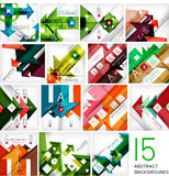 Set of arrow shape abstract backgrounds. 15 design templates. For business background | numbered banners | business lines | graphic website stock illustration