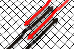 Set of arrows. 3D render of red and white arrows Royalty Free Stock Image