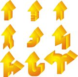 Set of arrows. Set of nine 3d yellow arrows Stock Photography