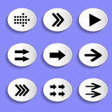 Set of Arrows on Buttons Stock Image