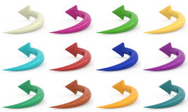 Set of arrows, 3D. Set of colored arrows isolated on white, 3D Stock Image