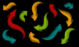 Set of arrows of different shapes and colors. Seamless background. set of arrows of different shapes and colors on a black background Stock Illustration