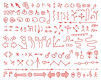 Set of arrows drawn by hand Royalty Free Stock Photos