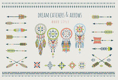 Set of arrows, dream catchers, Indian elements. Stock Image