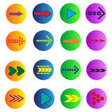 Set of 16 arrows. In the form of icons Stock Photography