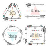 Set of arrows frames, tribal arrows. Ethnic Feathers. Boho Style. Royalty Free Stock Photos