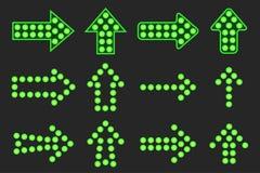Set of arrows of green light. Royalty Free Stock Photos