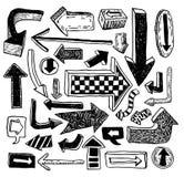 Set of arrows, hand drawn vector illustration Royalty Free Stock Photos