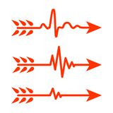 Set of Arrows with Heartbeat symbol. Vector illustration royalty free stock photos