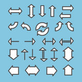 Set of arrows linear icons. Download, refresh, upload, check, sh Stock Photos