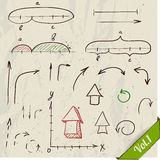 Set of arrows and math elements. Stock Image