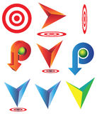 Set arrows target and pointed. Set of vaious elements: arrows, target and pointed Royalty Free Illustration