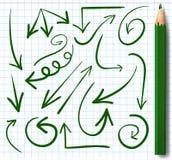 Set of arrows. VECTOR. Green arrows and blue colored pencil. Set of hand drawn arrows. VECTOR. Green arrows and blue colored pencil Stock Images