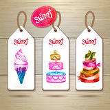 Set of art cake or dessert banners. Stock Image