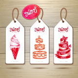 Set of art cake or dessert banners Royalty Free Stock Image